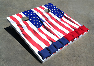 Cornhole game boards with American flag design –by IWI Wood Products