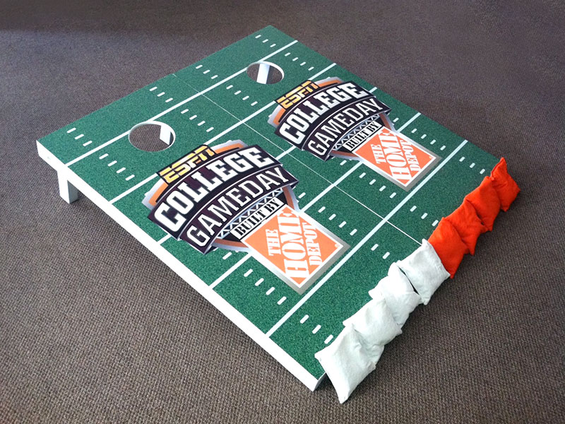 ESPN College game day custom cornhole game boards & bags – by IWI Wood Products