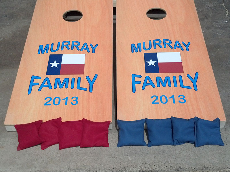 Custom cornhole game boards & bags for family reunion – by IWI Wood Products