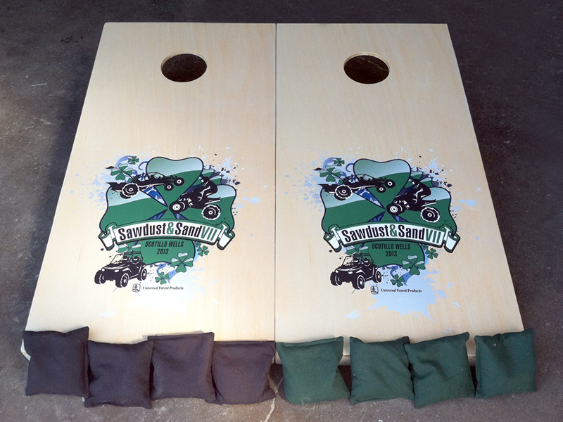 Custom cornhole game boards & bags with Sawdust & Sand logo – by IWI Wood Products